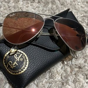 "WORN ONCE AVIATOR FLASH LENSES ""copper"" RAY BANS"
